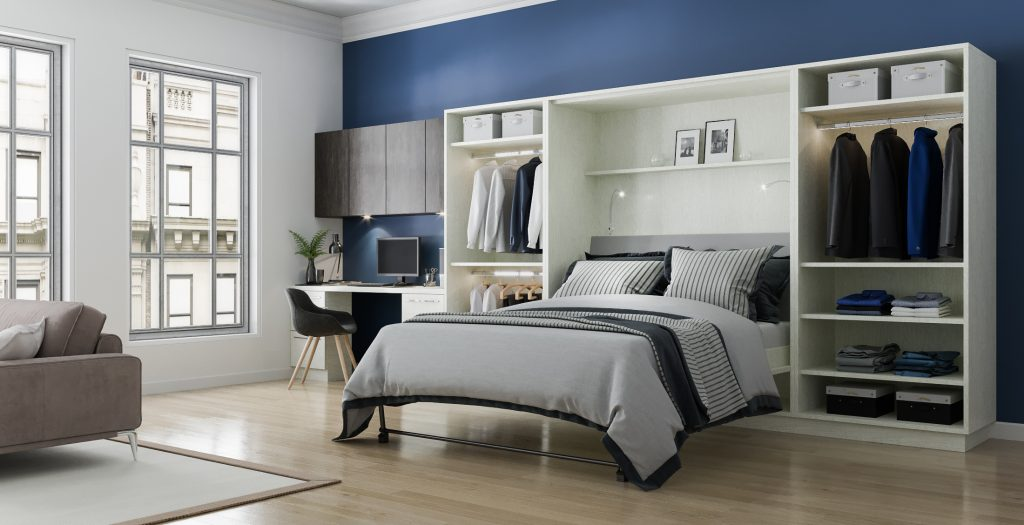 wall bed on blue accent wall with white walls surrounding it