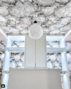 statement ceiling with wallpaper in a closet