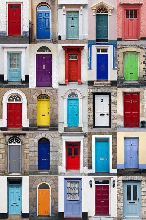 selections of 15 colorful front doors show the range and options of colored paint.