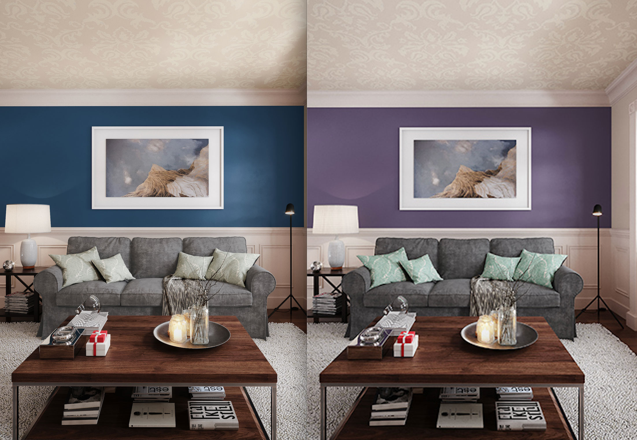 two color variations of the living room