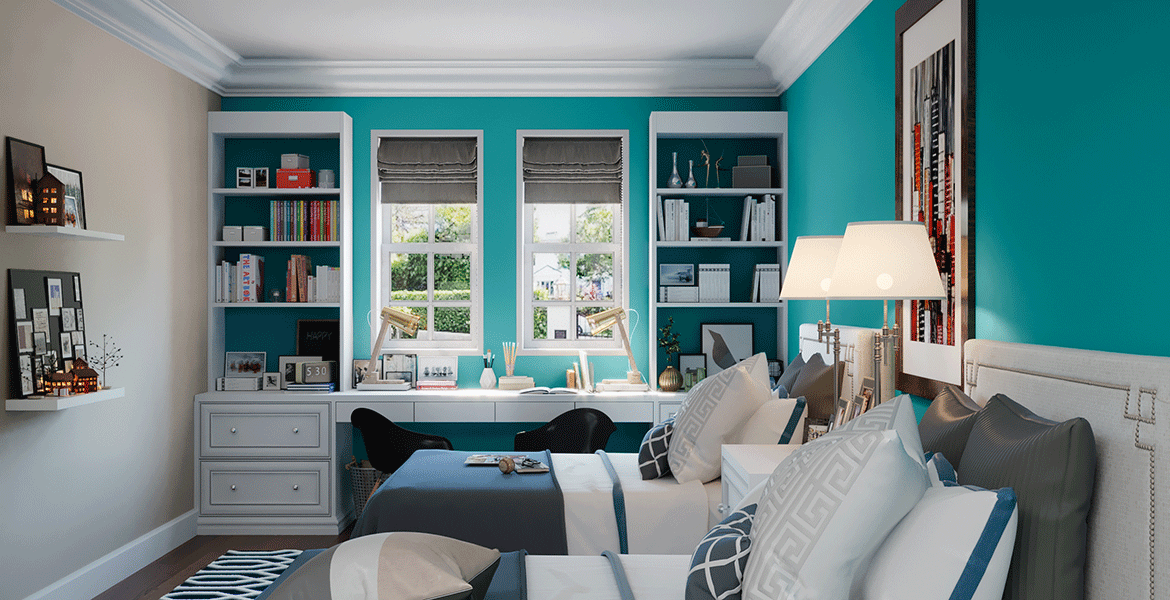 guest bedroom paint in teal color scheme