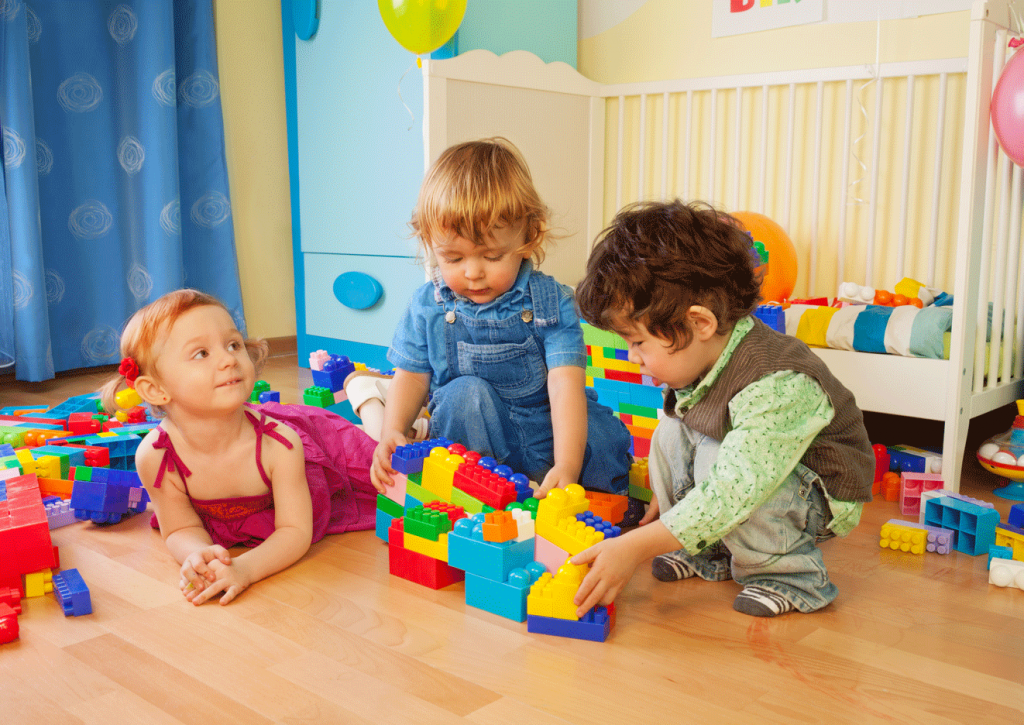 kids paling in child's bedroom